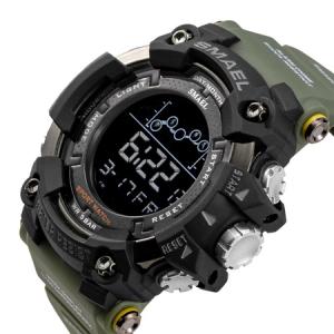 Ceas barbatesc Smael Army Green , Shock resistant, Sport, Militar, Digital, Dual Time, Cronograf2
