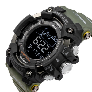Ceas barbatesc Smael Army Green , Shock resistant, Sport, Militar, Digital, Dual Time, Cronograf5