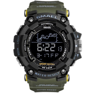 Ceas barbatesc Smael Army Green , Shock resistant, Sport, Militar, Digital, Dual Time, Cronograf1