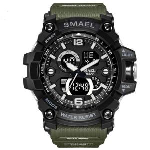 Ceas barbatesc Smael, Dual time, Army Green, Militar, Sport, Alarma, Calendar, Cronometru0