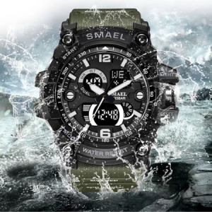 Ceas barbatesc Smael, Dual time, Army Green, Militar, Sport, Alarma, Calendar, Cronometru8