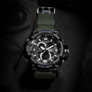 Ceas barbatesc Smael, Dual time, Army Green, Militar, Sport, Alarma, Calendar, Cronometru5