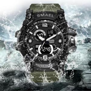 Ceas barbatesc Smael, Dual time, Army Green, Militar, Sport, Alarma, Calendar, Cronometru3