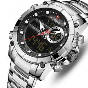 Ceas barbati elegant, Naviforce, Cronograf, Top Brand, Luxury, Quartz, Dual-time0