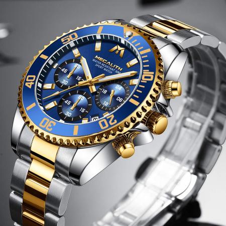 Ceas barbati Megalith Cronograf Quartz Otel inoxidabil Luxury [4]