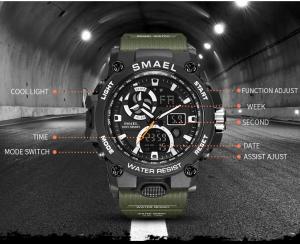Ceas barbati Smael 8011, Army, Digital, Cronograf, Sport, Militar6