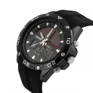 Ceas barbati Sport Solar Cronograf Dual Time Alarma Curea PU1
