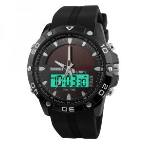 Ceas barbati Sport Solar Cronograf Dual Time Alarma Curea PU0