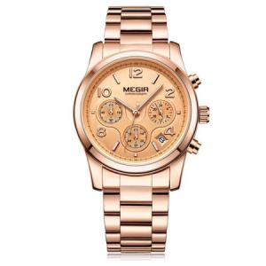 Ceas dama, Megir, Casual, Elegant, Fashion, Business, Cronograf, Mecanism Quartz, Afisaj Analog0