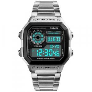 Ceas de mana barbatesc Casual Digital Alarma Cronograf Otel inoxidabil [1]