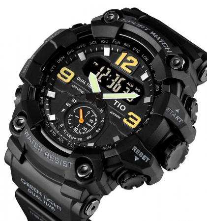 Ceas barbatesc Militar TIO Digital Sport Army Cronograf Rezistent la socuri si apa0