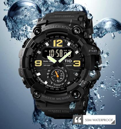 Ceas barbatesc Militar TIO Digital Sport Army Cronograf Rezistent la socuri si apa2