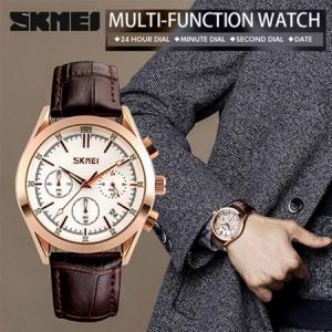 Ceas elegant, Skmei 9127, Quartz, Curea din piele naturala2