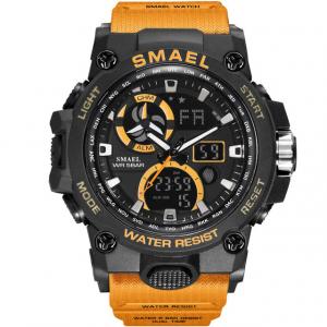 Ceas pentru barbati Smael 8011. Miltar, Dual time, Cronograf, Army, Digital, Rezistent la apa si socuri0