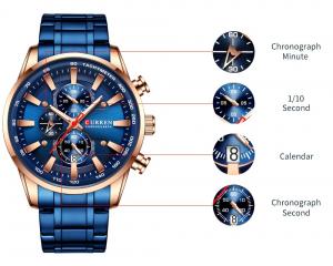 Curren Top Brand, Ceas barbatesc casual, Luxury, Otel inoxidabil, Cronograf, Quartz7