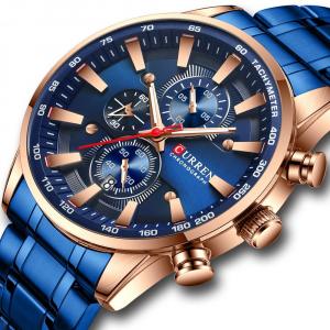 Curren Top Brand, Ceas barbatesc casual, Luxury, Otel inoxidabil, Cronograf, Quartz0
