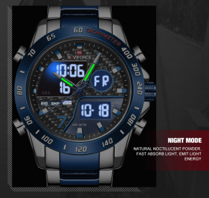 Naviforce Ceas de mana barbatesc Dual Time Quartz Led Digital Otel inoxidabil6