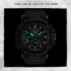 Smael Ceas barbatesc Army Cronograf Dual Time Militar Rezistent la socuri si apa1