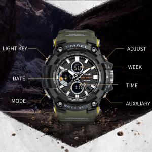 Smael Ceas barbatesc Army Cronograf Dual Time Militar Rezistent la socuri si apa2