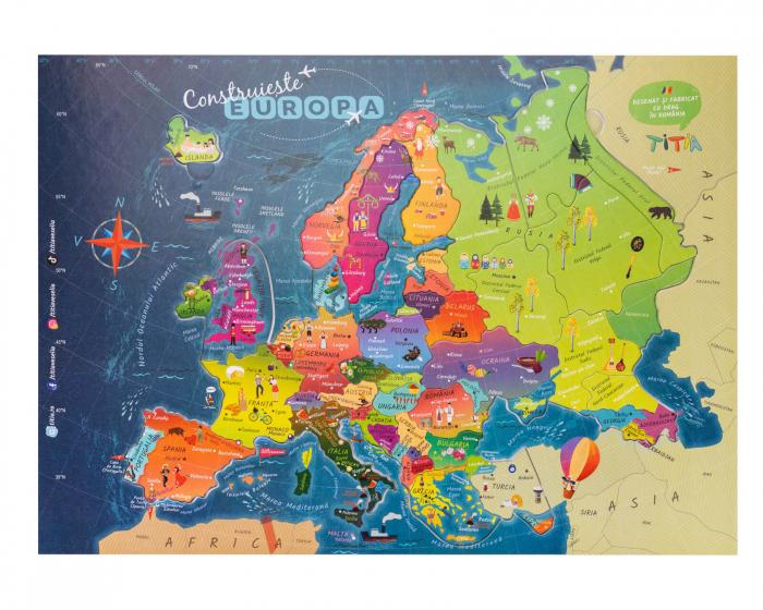 Construiește Europa - Puzzle Educativ în format mare - Țări, Relief, Steaguri și Obiective Turistice [0]