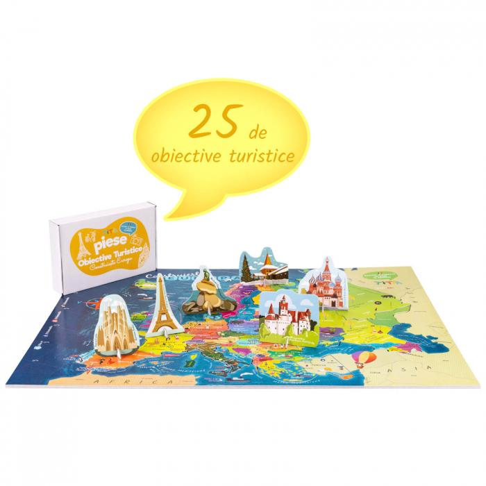 Construiește Europa - Puzzle Educativ în format mare - Țări, Relief, Steaguri și Obiective Turistice [3]