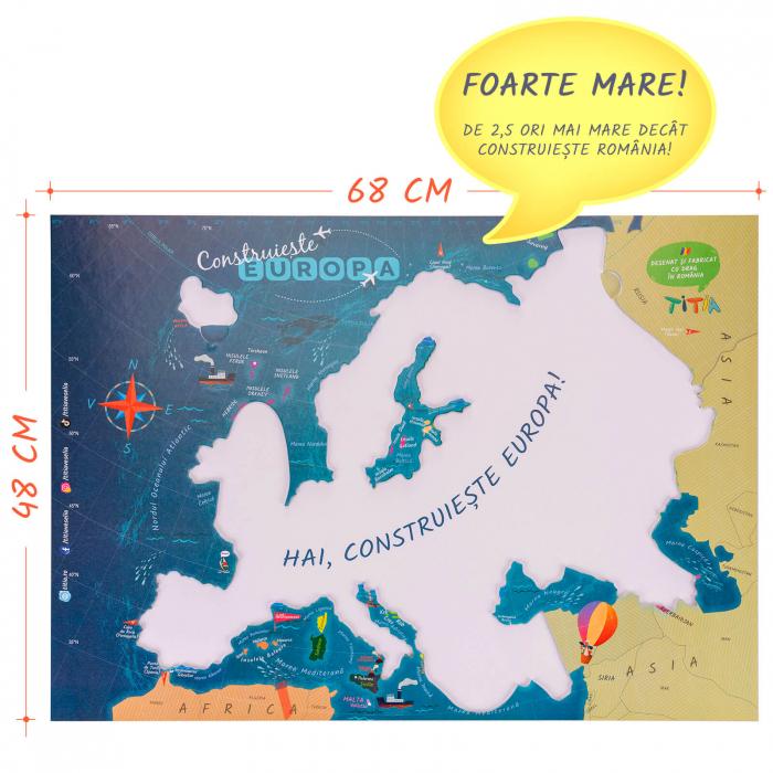 Construiește Europa - Puzzle Educativ în format mare - Țări, Relief, Steaguri și Obiective Turistice [2]