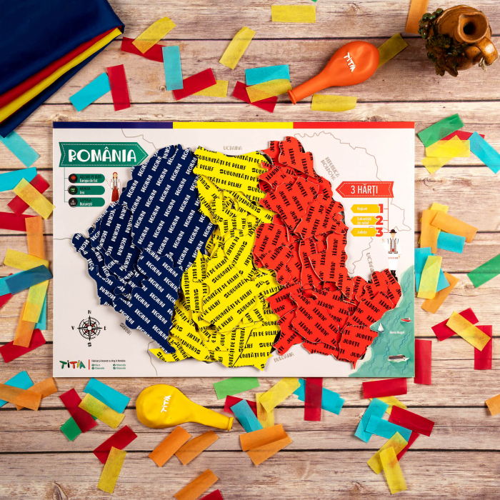 Construiește România - Puzzle în 3 straturi - Județe, Regiuni, Relief [2]