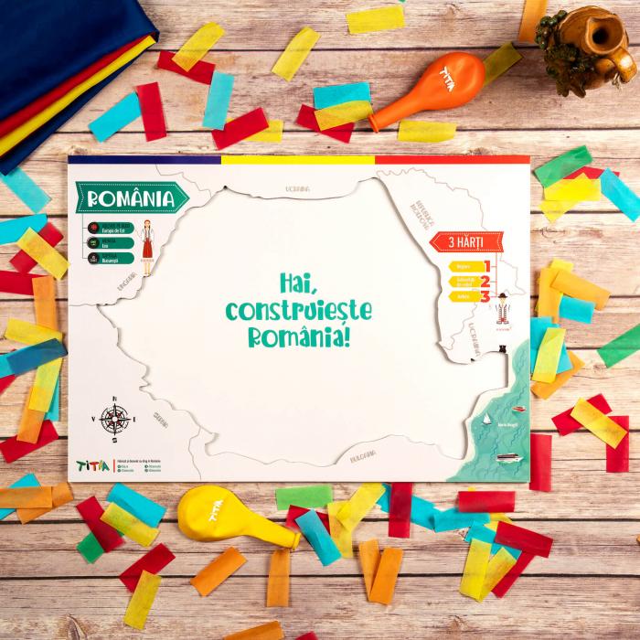 Construiește România - Puzzle în 3 straturi - Județe, Regiuni, Relief [1]