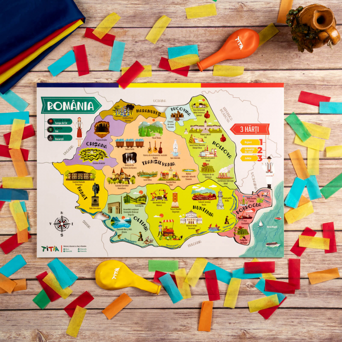 Construiește România - Puzzle în 3 straturi - Județe, Regiuni, Relief [4]