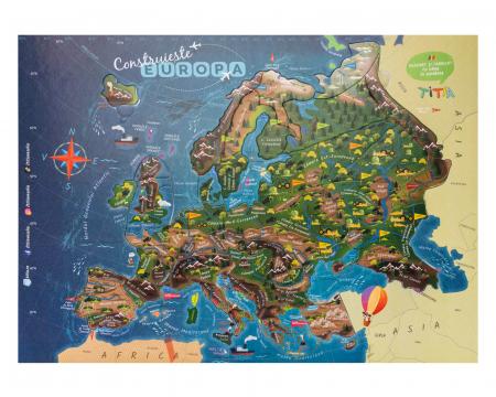 Construiește Europa - Puzzle Educativ în format mare - Țări, Relief, Steaguri și Obiective Turistice [1]