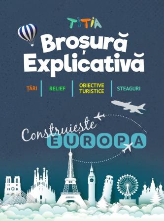 Construiește Europa - Puzzle Educativ în format mare - Țări, Relief, Steaguri și Obiective Turistice [5]