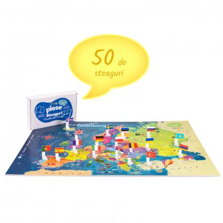 Construiește Europa - Puzzle Educativ în format mare - Țări, Relief, Steaguri și Obiective Turistice [4]