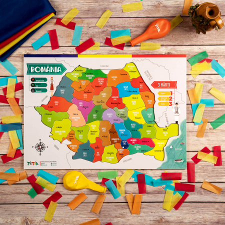 Construiește România - Puzzle în 3 straturi - Județe, Regiuni, Relief [3]