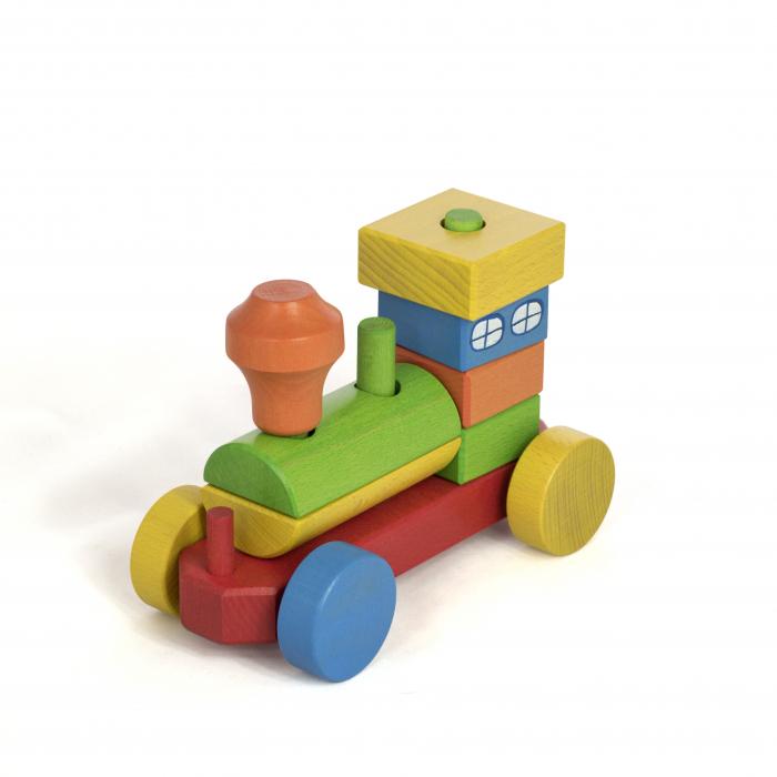 Trenulet din lemn colorat in curcubeu [2]