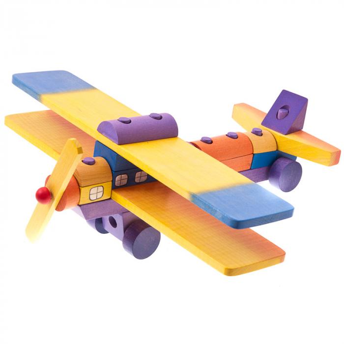 Avion din blocuri de lemn colorate 0