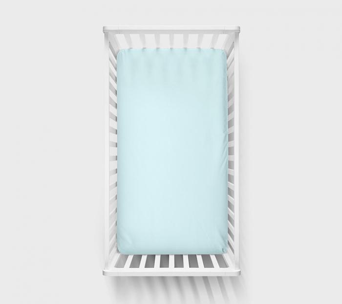 Cearsaf cu elastic din bumbac, 140x70cm Albastru 0