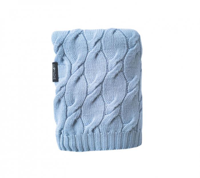 Patura lana Merinos Lullalove 80x100cm - Baby Blue 0