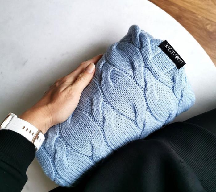 Patura lana Merinos Lullalove 80x100cm - Baby Blue 2