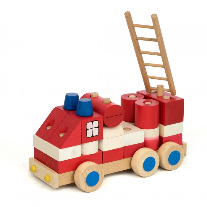 Masinuta de pompieri din piese 0