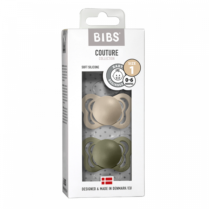 2 Pack Bibs Couture Vanilla / Olive Silicon Size 1 (0-6 luni) 0