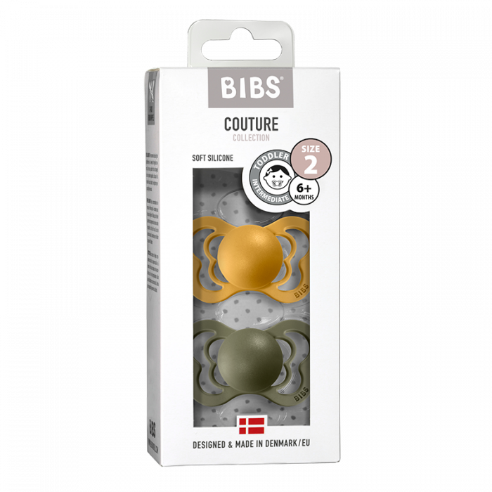 2 Pack Bibs Couture Honey Bee / Olive Silicon Size 2 (6-18 luni) 0