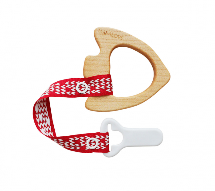 Jucarie dentitie + clips, lemn de artar , Mamari 2