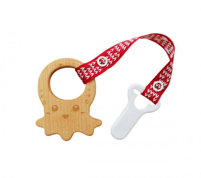 Jucarie dentitie + clips, lemn de artar , Mamari 4