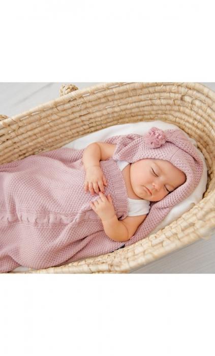 Paturica de dormit, cu gluga, 50 x 40cm  bambus&bumbac, Roz 1