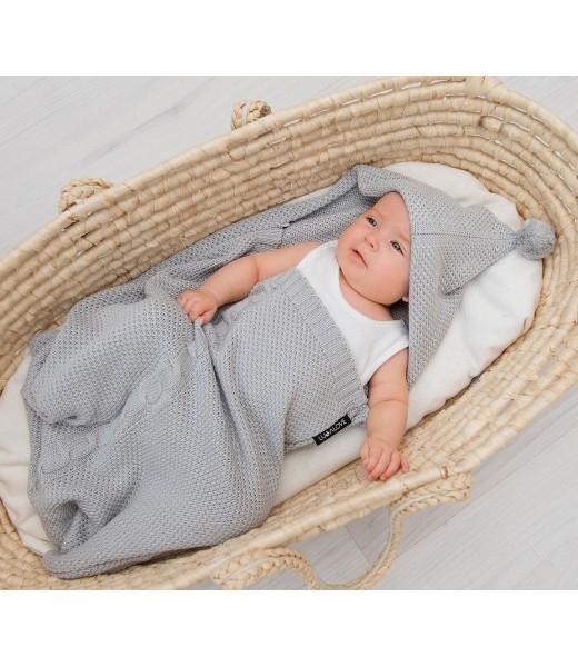 Paturica de dormit, cu gluga, 50 x 40cm bambus&bumbac, Gri 3