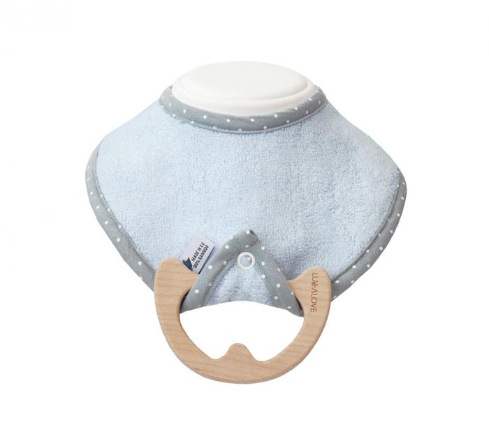 Jucarie dentitie cu bavetica albastra, lemn de artar [0]