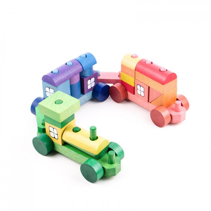 Trenulet colorat din cuburi 1