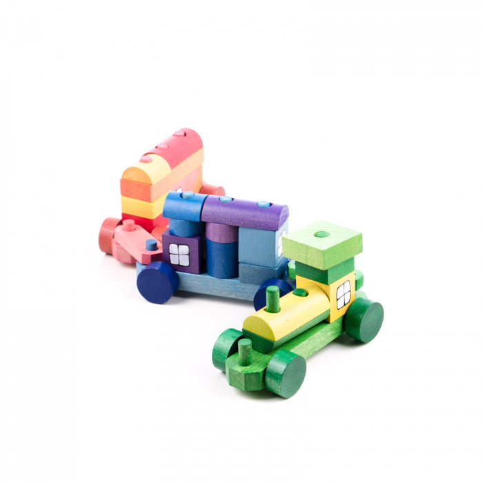 Trenulet colorat din cuburi 6