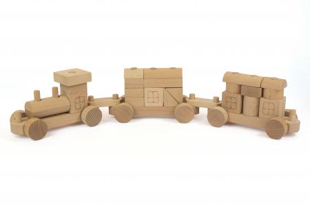 Trenulet natur din lemn [0]