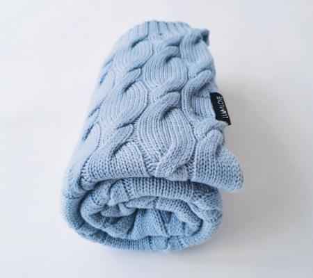 Patura lana Merinos Lullalove 80x100cm - Baby Blue1